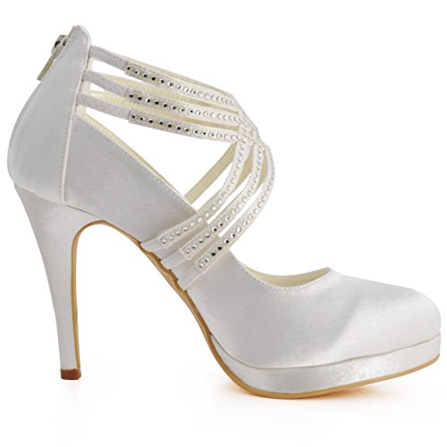 ElegantPark EP11085-PF Femme bout Ronde Plate-Forme De Haut Talon Zip Bretelles En Satin Chaussures De Mariage Ivoire