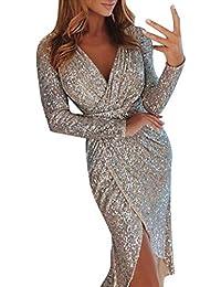 POLP Vestidos Vestido Lentejuelas Mujer Mini Faldas Mujer Sexy Fiesta Mujer Cortos Talla Grande Elegante Bodycon Dress Vestido de Noche Invierno Espalda Abierta S-XXL