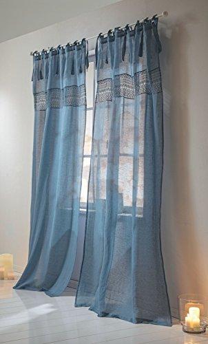 Leinenvorhang - Vorhang mit Spitzen-Bordüre - Leinen Baumwolle - ca. 250 x 140 cm