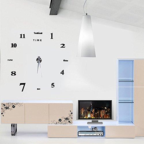 Moderno Orologio Da Parete Fai Da Te Yosoo, Tridimensionale 3D Sticker Decorazione Per Casa Ufficio Hotel Ristorante, Migliore Scelta Come Regalo – Nero - 4