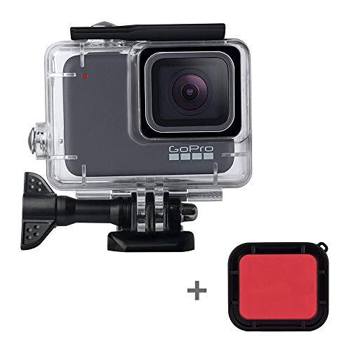leegoal Boîtier Étanche pour Gopro Hero 7 Blanc/Argent, 45M plongée boîtier Case de Protection avec Filtre Rouge et Accessoires de Support pour Go Pro Hero 7 caméra d'action