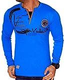 Herren Langarm Shirt Longsleeve Sweatshirt T-Shirt Vintage (XL-XXL, Türkis (L.1.12 0662))