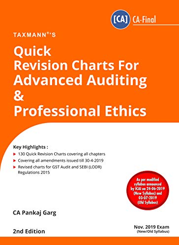 Quick Revision Charts For Advanced Auditing & Professional Ethics(CA-Final)(2nd Edition August 2019)(For Nov 2019 Exam- New/Old Syllabus)