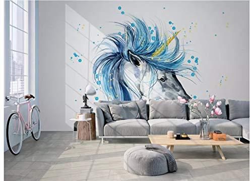 BHXINGMU Benutzerdefinierte Wandbilder Schlafzimmer Sofa Wohnzimmer Tv Hintergrund Nordischen Aquarell Pferdekopf Große Kunstwanddekoration 280Cm(H)×400Cm(W)