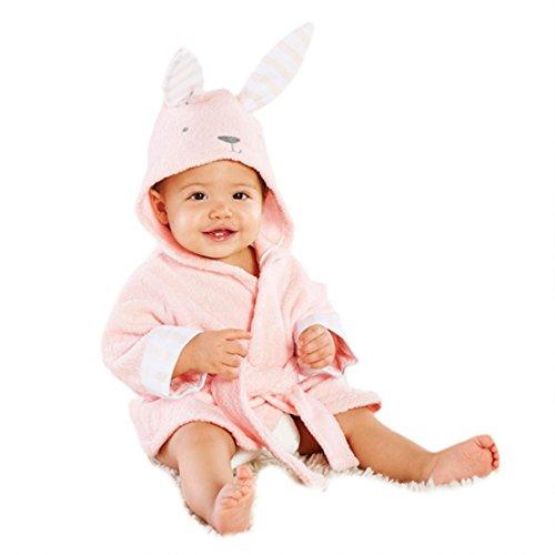 Casa Kinder Morgenmantel - Baby Bademantel mit Kapuze, Fleece Pyjamas Säuglings Kapuzenbademantel Bademantel mit Tiermotiven Kaninchen 100cm
