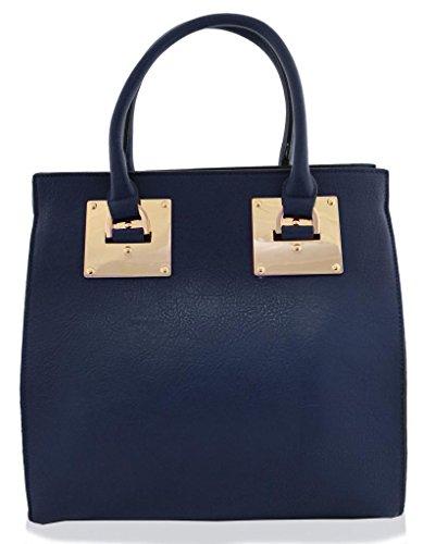 Descuentos En Línea Kukubird Large Faux Leather Designer Handbag With Gold Metal Plate BLUE Venta Mejor Lugar Venta Barata Exclusivo Precio Barato Nkw00ljG