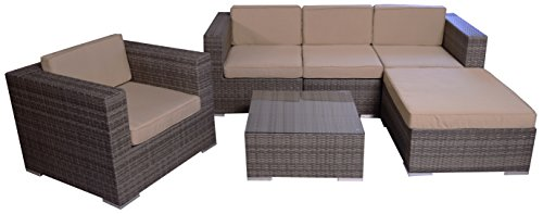 Rattan Sitzgruppe Ecksofa Loungegruppe L-Sofa in grau breite Armlehnen inkl. wasserabweisenden Kissen Aluminiumgestell