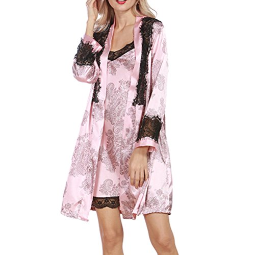 Zhhlinyuan Fashion Women's Robe Satin Babydoll Set Dressing Gown Lace&Floral Print Nightwear pink