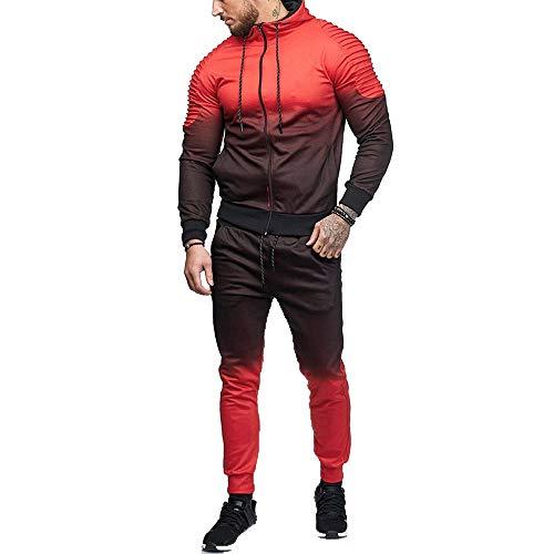 Chándales de Hombre, Sudadera con Capucha de Degradado de Rayas de otoño Invierno de los Hombres Tops Pantalones Conjuntos Chándal Amlaiworld