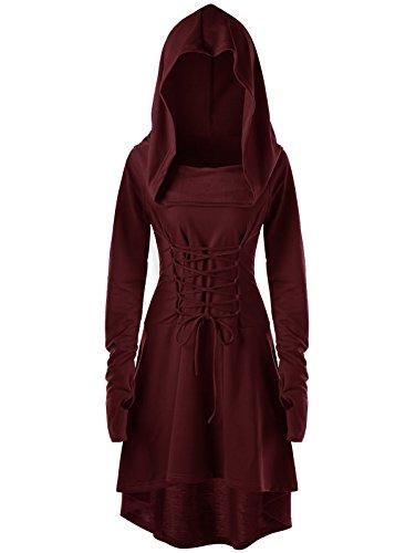 Pxmoda Damen Kapuzen Robe Lace Up Vintage Pullover hohen niedrigen Langen Hoodie Kleid Umhang...
