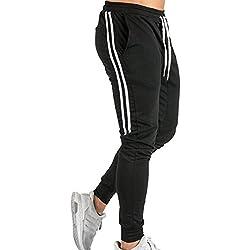 junkai Hombres Pantalones Apretado Pantalones de Culturismo Pantalones elásticos De Moda Pantalones de chándal a Rayas M-2XL