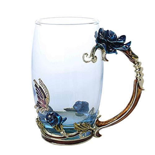 fee Tee Tasse Becher 3D Rose Schmetterling Glas Tassen Hochzeitsgeschenk ()