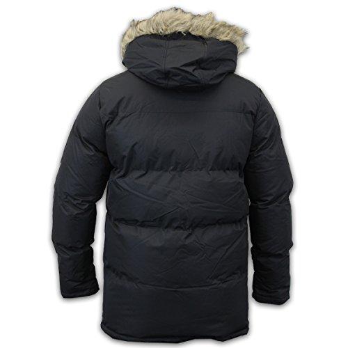 Brave Soul Herren Parka Jacke Mantel Gefüttert Fleece Kapuze Pelzrand Freizeit Winter Schwarz - ROSSI