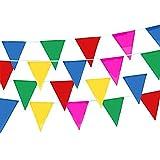 Nylon-Banner, Dreieck Banner, 50 M Nylon Material Bunting, Multi-Color-Fahnen, Party Bunting Banner für Outdoor-Aktivitäten und Party Celebration Event(22*32 CM)