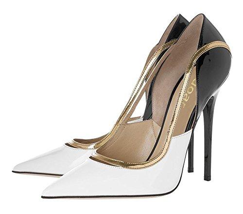 Guoar - Scarpe chiuse Donna (Weiß,PU)