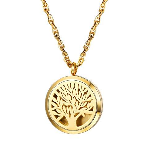 alskette, Baum des Lebens Weltenbaum Medaillon Anhänger 18k vergoldet Aromatherapie Ätherische Öle Diffusor Floating Locket mit Kette, gold (Gold Medaillon Halskette)