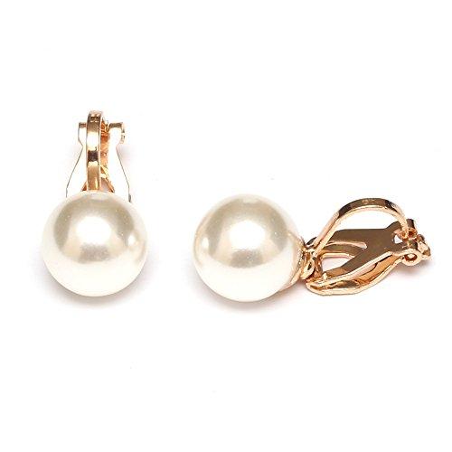 Idin Jewellery Ohrclips - Weiße, runde Perlenimitage mit goldfarbenen Clips