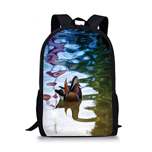 Qfunny Casual Rucksack Schultasche Wildlife Decor Unisex 3D Print Canvas Backpack,Chinese Mandarin Ducks Sail in River East Asian Winged Creature Peace Habitat Schoolbag Shoulder Bag Multi
