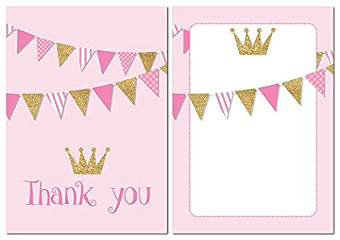 Thank you cards - Pink with gold glitter effect and bunting - 24 x A6 postcards (With envelopes)