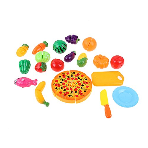 24 Set Küchenspielzeug Kinder Plastik Essen Spielzeug Obst Gemüse Cutting Toy Pretend Play Kinder-Rollenspiele Spielzeug Spiellebensmittel Kochen Früchte Set für kinderküche 3 Jahre Alt und Oben