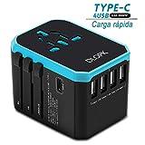DLOPK Adaptador de Viaje Universal con 4 Puertos USB (MAX 5.6A) y 1xCargador Tipo-C 3A para US EU UK AU Japon Asia África Más de 150 Países (bue)