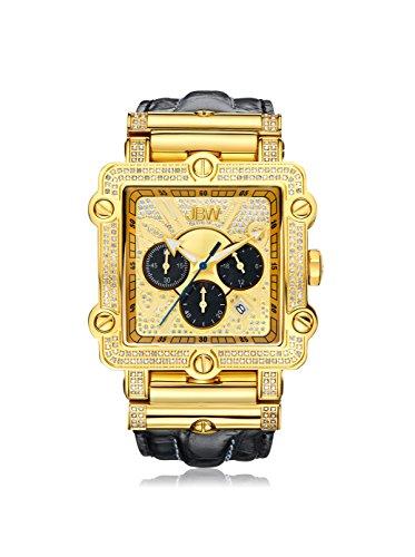 JBW Phantom Reloj DE Hombre Diamante Cuarzo 46MM Correa DE Cuero JB-6215-238-G