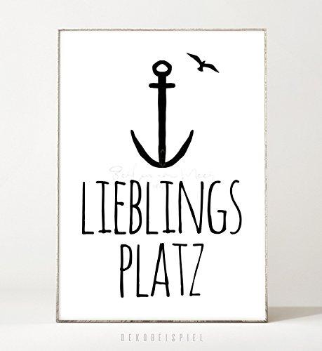 DIN A4 Kunstdruck Poster LIEBLINGSPLATZ -ungerahmt- Typografie, Schrift, Vogel, Text, Spruch, Anker,...