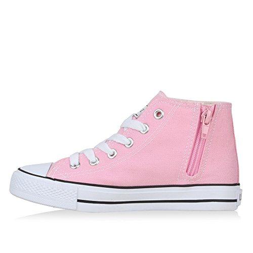 Kinder Sneakers High Top Sportlich Schnürer Trend Schuhe Rosa