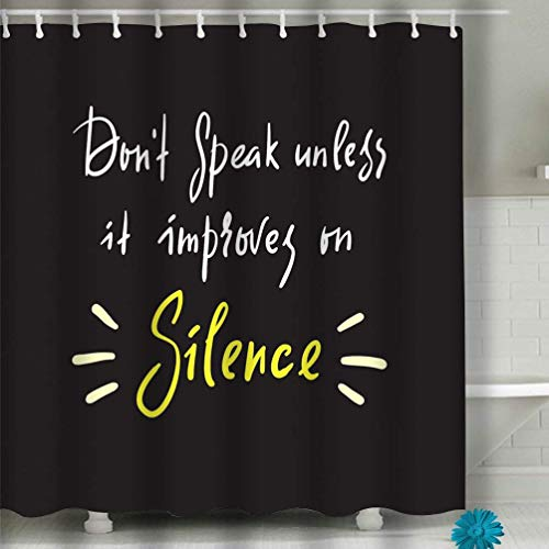 sfdgd Bath Curtain 60x72 Inch Thick Fabric Bathroom Curtains Home Decorations for Bathroom Silence Simple Inspire Motivational Quote Hand Drawn Beautiful Lettering Print Inspirational Poster Bag Cup