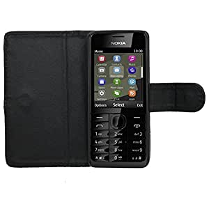 Samrick Executive Specially Designed Leather Book Wallet Case for Nokia Asha 301/301/301 Dual Sim - Black