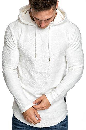 Amaci&Sons Herren Oversize Kapuzenpullover Hoodie Sweater Pullover Sweatshirt 4011 Weiß M - 2