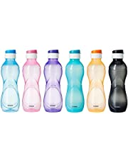 Amazon Brand - Solimo Plastic Water Bottles (Set of 6, 1L, Curvy, Multicolour)
