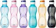 Amazon Brand - Solimo Plastic Water Bottle Set with Flip cap (Set of 6, 975ml, Multicolor)