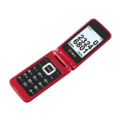 Olympia Luna–Senior teléfono móvil–rojo con botones grandes Decoración botón de emergencia ✓ plegable con teclas grandes Teléfono Móvil | Teléfono Móvil para personas mayores/Jubilado, sin contrato, apropiada–Teléfono con teclas