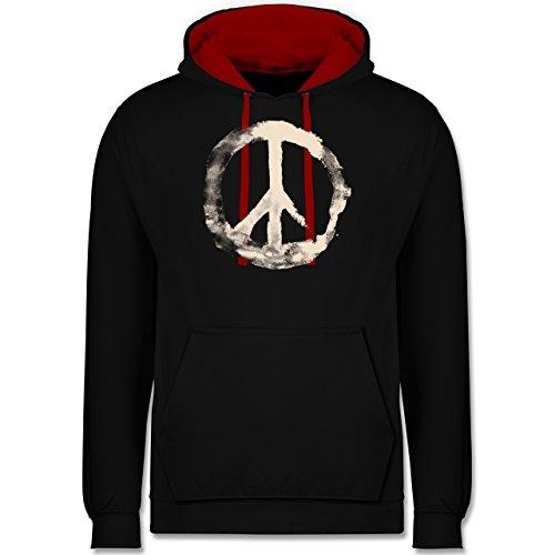 Statement Shirts - Frieden - Peacesymbol weiss - Kontrast Hoodie Schwarz/Rot