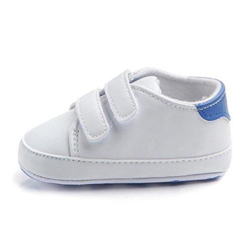 Turnschuhe Babyschuhe Neugeborenen Leder T-Strap Schuhe Sportschuh Jungen Lauflernschuhe Mädchen Krippeschuhe Krabbelschuhe Streifen-beiläufige Wanderschuhe LMMVP (Blau, 11(0-6Monat))