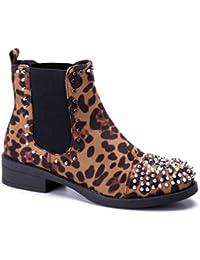 8e7ffaf2df0a20 Schuhtempel24 Damen Schuhe Klassische Stiefeletten Stiefel Boots Blockabsatz  schlupf Nieten Leo 3 cm