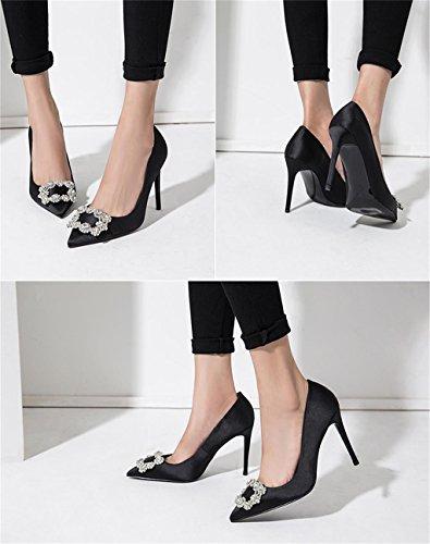 ALUK- Chaussures de mariée - fines avec chaussures pointues de bouche mince ( couleur : 8cm , taille : 36 ) 8cm