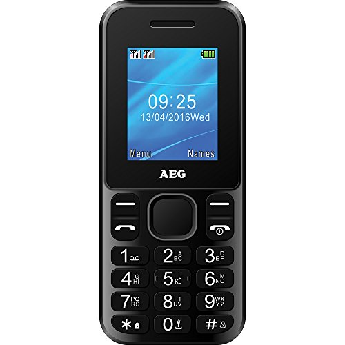AEG M1220 - Móvil Libre Dual SIM con Pantalla DE 1.8', Bluetooth, Cámara y Flash - Color Negro