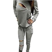 Minetom Mujer Otoño Primavera Chándal Moda Traje Deportivo Casual Manga Larga Tapas Y Pantalones Con Cremallera
