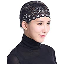 Beikoard Mujer Musulmán Estiramiento Encaje Turbante Sombrero Chemo Cap  Cabello Pérdida Cabeza Bufanda Wrap Tapa 945733261b9