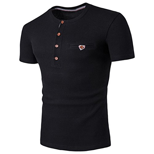Rcool Männer Sommer kurze Hülse beiläufige tägliche Sitz Polo-T-Shirts O-Ansatz beiläufige Hemden Schwarz