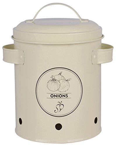Cebolla olla de acero al carbono en color cremaCaja de almacenamiento 'Onions' con tapa para almacenamiento óptimo de cebollas. Protege el contenido de la Luz y que garantiza que las bombillas con los orificios de ringsrum running Keep it fresco y se...