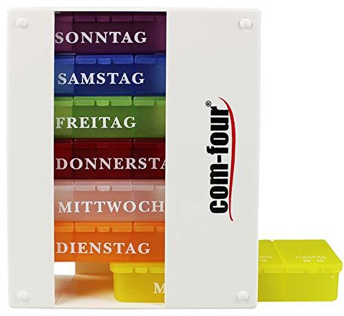 com-four® Medikamentendosierer 7 Tage - Medikamenten-Box (Morgens, Mittags, Abends) - Pillendose - Tablettendose - Wochendosierer (01 Stück - weiß 4 Tageszeiten)