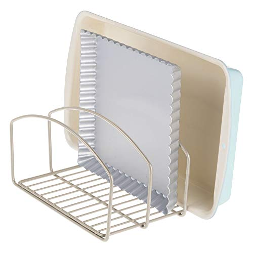 mDesign Metal Wire Cookware Organizer Rack for Kitchen Cabinet, Pantry and Shelves - Organizer Holder with Three Slots for Cookie Trays, Muffin Tins, Bread Pans, Cutting Boards - Matte Satin