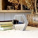 HCGZ Spiegel LCD Wecker, 3D Nacht licht multifunktions modernen Silent Wanduhr Digitale temperaturanzeige Schreibtisch-tischuhr Quarzuhr-Silber 13.7x13.7x3.5cm(5x5x1inch)