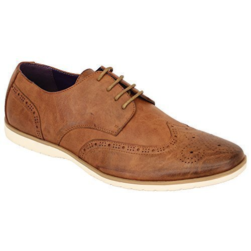 Hommes Allure Cuir Brogue À Lacets Pointus Habillé Chaussures Italiennes By Belide Marron - M019