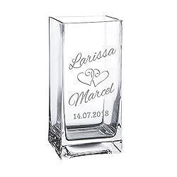 Casa Vivente Blumenvase aus Glas mit Gravur, Motiv Herzen, Personalisiert mit Namen und Datum, Dekoration, Hochzeitsgeschenk für Brautpaar