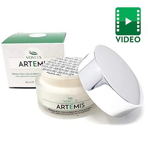 Vovees artemis crema idratante viso antirughe con acido ialuronico puro, 50ml   antiage giorno e notte 100%   10 principi attivi naturali   made in italy