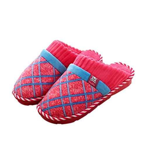 Meijunter Komfort Weich Zuhause Baumwolle Schuhe Indoor Non-slip Hausschuhe Warm Rose Red